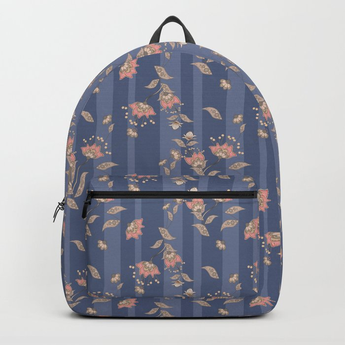 Retro . Floral pattern on a blue striped background . Backpack