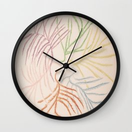 Pastel Coloured Feather Print Wall Clock