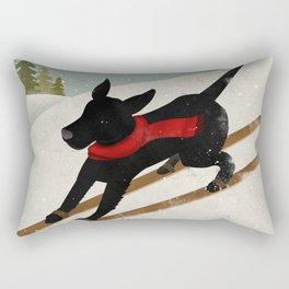 Black Dog Labrador Ski Mountain Rectangular Pillow