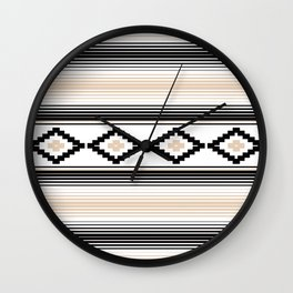 Modern Mexican Serape in Tan Wall Clock