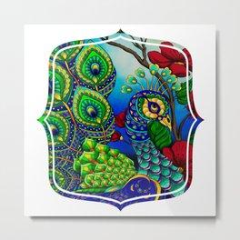 Peacock ZIA Metal Print