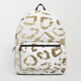Modern white chic faux gold foil leopard print Backpack