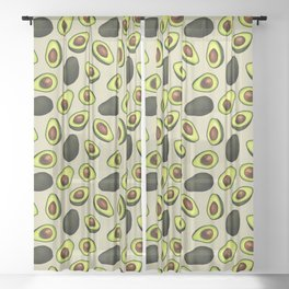 Dancing Millennial Avocados on Beige, Ditsy print Sheer Curtain