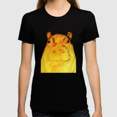 Golden Hippo Womens Fitted Tee SMALL Black