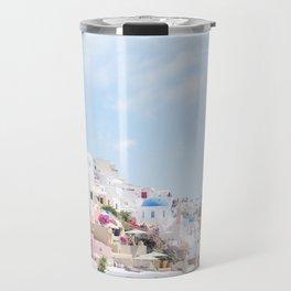 Pastel Colored View on Santorini Greece Travel Mug