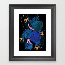 tropical // night in the garden Framed Art Print