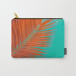 Minimal poster. leaf of palm tree in pastel colors (blue and orange) Carry-All Pouch