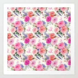 Retro Floral Ranunculus print Art Print