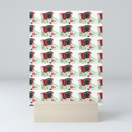 Retro red accordion Mini Art Print