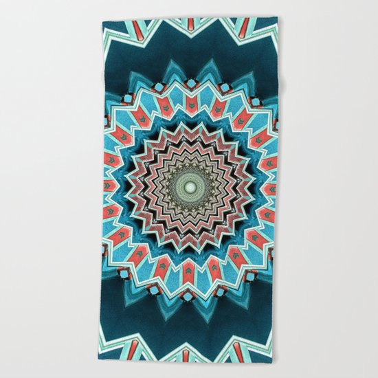 Blue And Turquoise Pattern Beach Towel