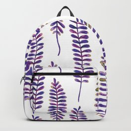 Watercolour Fern Pattern | Purple and Gold Backpack