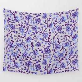 Watercolor Peonies - Periwinkle Wall Tapestry