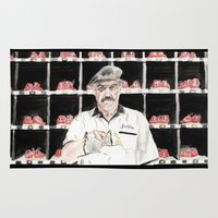 "big lebowski Area & Throw Rugs featuring The Big Lebowski ""Saddam"" by Gregory Nordquist"