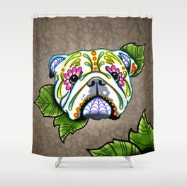 English Bulldog - Day of the Dead Sugar Skull Dog Shower Curtain