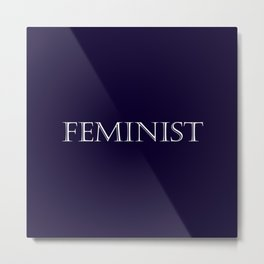 Feminist - Navy Blue and White Metal Print