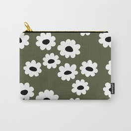 Little retro wild flower daffodil daisy white forest green Carry-All Pouch