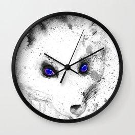 black and white : polar fox Wall Clock