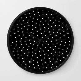 Minimal- Small white polka dots on black -Mix & Match with Simplicty of life Wall Clock