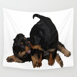 Rottweiler Puppies Playing Vector Isolated Wall Tapestry