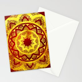 RED AND GOLD MANDALA FLOWER Stationery Cards