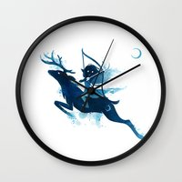 archer Wall Clocks featuring Elf Archer by Freeminds
