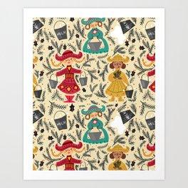 Eight Maids a Milkin' Art Print