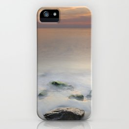 Calm red sunset at the beach iPhone Case