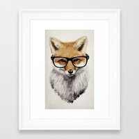 christmas Framed Art Prints featuring Mr. Fox by Isaiah K. Stephens
