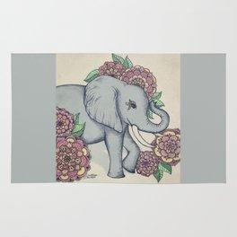 Little Elephant in soft vintage pastels Rug