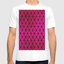Girly Pink Faux Foil Triangles Pattern T-shirt