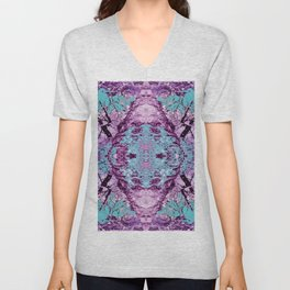 120 - Tree branches pinks and blues Unisex V-Neck