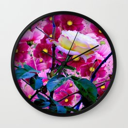 YELLOW ROSE GARDEN BEAUTY & PINK COSMOS Wall Clock