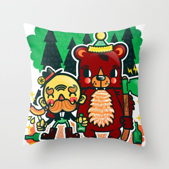 Lumberjack and Friend Throw Pillow