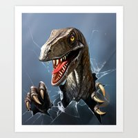 dinosaur Art Prints featuring dinosaur by Antracit