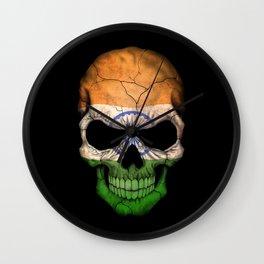 Dark Skull with Flag of India Wall Clock