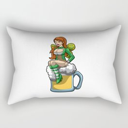 Irish Fairy Sits In A Beer Mug And Brings Luck Rectangular Pillow