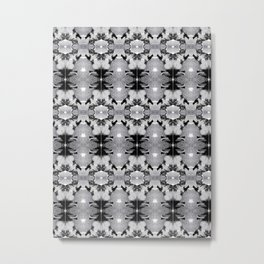 Grayscale Kaleidoscope Tabby Kitty Cat Pattern Metal Print