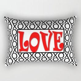 LOVE XOs Valentine Typography Digital Illustration, Modern Artwork Rectangular Pillow