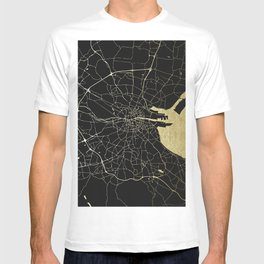 Dublin Ireland Black on Gold Street Map T-shirt