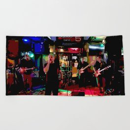 A night with Squad5 Beach Towel