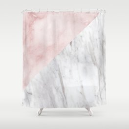 Marchionne Bianco & Silvec Rosa marble soft pink Shower Curtain