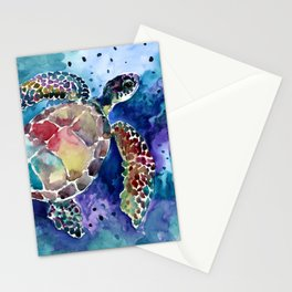 Sea Turtle underwater, beach deep blue barine blue turtle beach style design Stationery Cards
