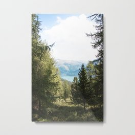 Photo of a lake in Graun Im Vinschgau/Curon Venosta, in South Tirol Italy | Fine Art Colorful Travel Photography |  Metal Print