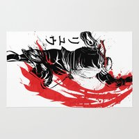 street fighter Area & Throw Rugs featuring Traditional Fighter by Donnie