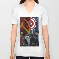 winter soldier V-neck T-shirts featuring Winter Soldier by Evan Tapper
