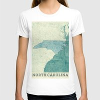 north carolina T-shirts featuring North Carolina State Map Blue Vintage by City Art Posters