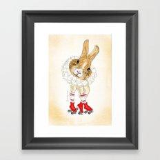 Roller Bunny Framed Art Print