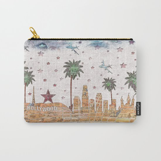 Los Angeles skyline vintage map Carry-All Pouch