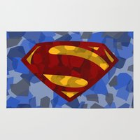 man of steel Area & Throw Rugs featuring MAN OF STEEL by thebuffaloarmy