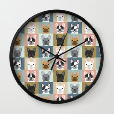 French Bulldog portraits pattern dog person gift love animal pet puppy frenchie bulldog valentines Wall Clock